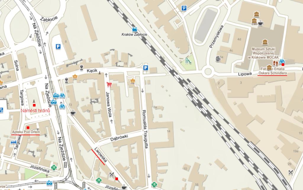 Mapa Podgorze, zdroj mapy.cz